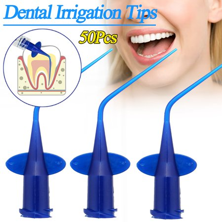 50pcs Dental Disposable Plastic Syringe Irrigation Luer Injection Refill Tips, - Irrigation Tip