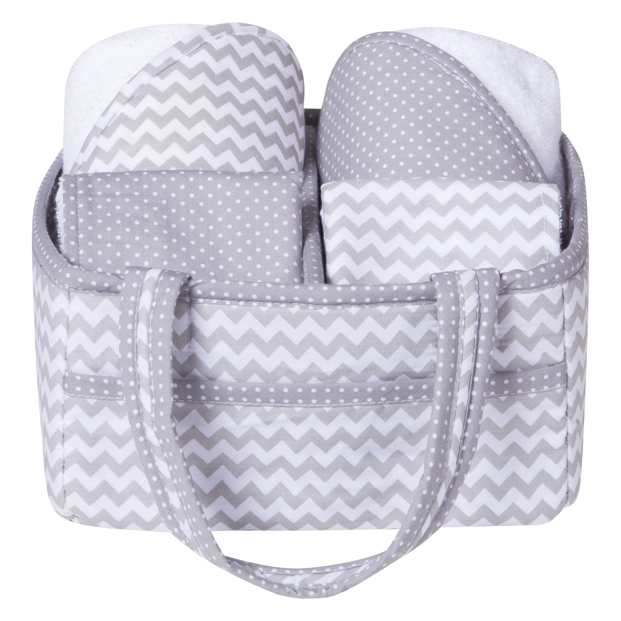 Trend Lab Gray Chevron 5 Piece Baby Bath Gift Set