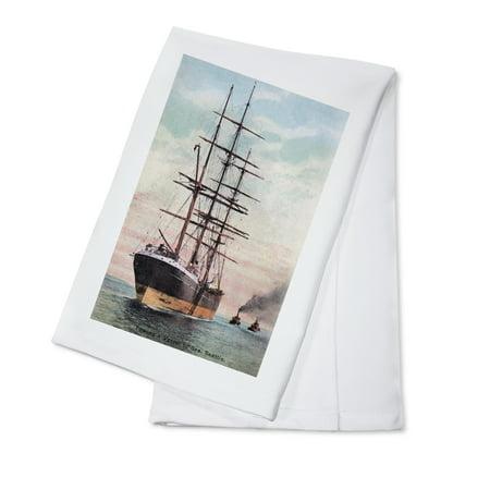 Washington Set - Seattle, Washington - Tugboats Towing a Ship to Sea (100% Cotton Kitchen Towel)