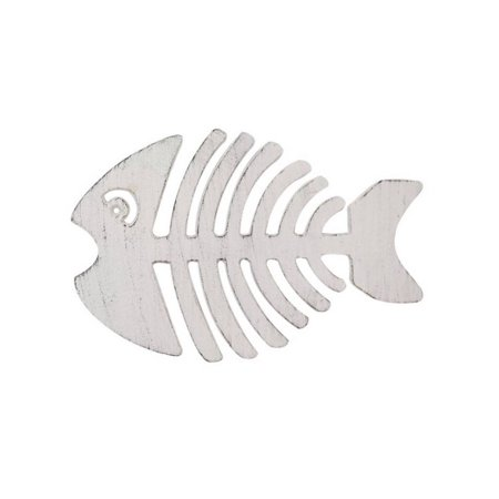 Whitewashed Cast Iron Fish Bone Trivet 11