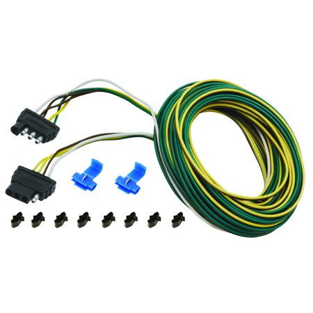 Wesbar 707104 4 Way Flat Wiring Connector  Trailer End  30 Ft  Wishbone Harness Kit  3 Ft  Ground W 4 Ft  Car End  18 In  Ground