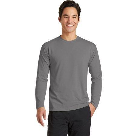 Port & Company® Long Sleeve Performance Blend Tee. Pc381ls Medium Grey M - image 1 of 1