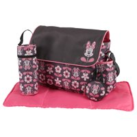 Disney Minnie Mouse Multi Piece Duffle Diaper Bag with Flap, Floral Print