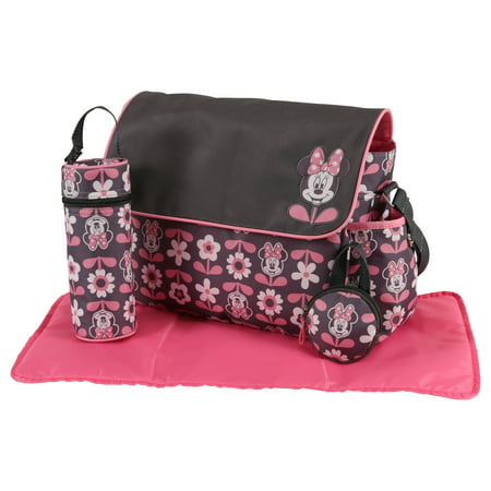 Disney Minnie Mouse Multi Piece Duffle Diaper Bag with Flap, Floral