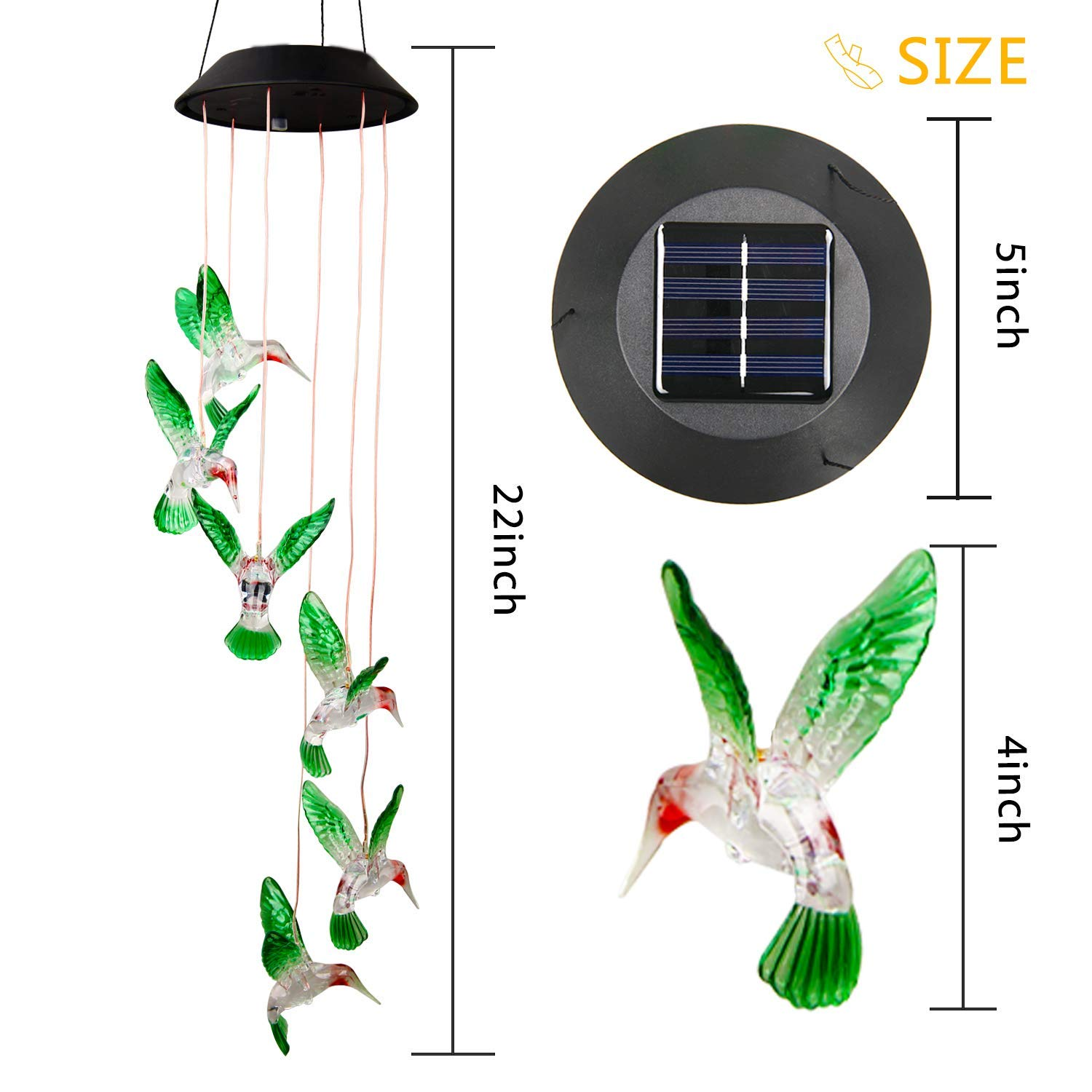 Yard Window Garden Solar Hummingbird Wind Chime Color Changing Decorative Solar String Lights Solar Patio Lights for Home Joomer Solar Lights Outdoor Porch
