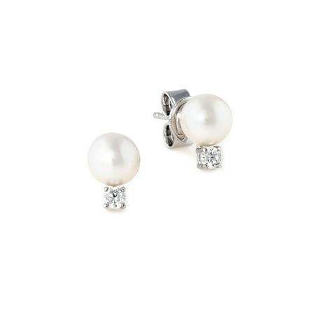 3658fe662 Crislu - Classic 6MM Freshwater Pearl Accented Stud Earrings ...