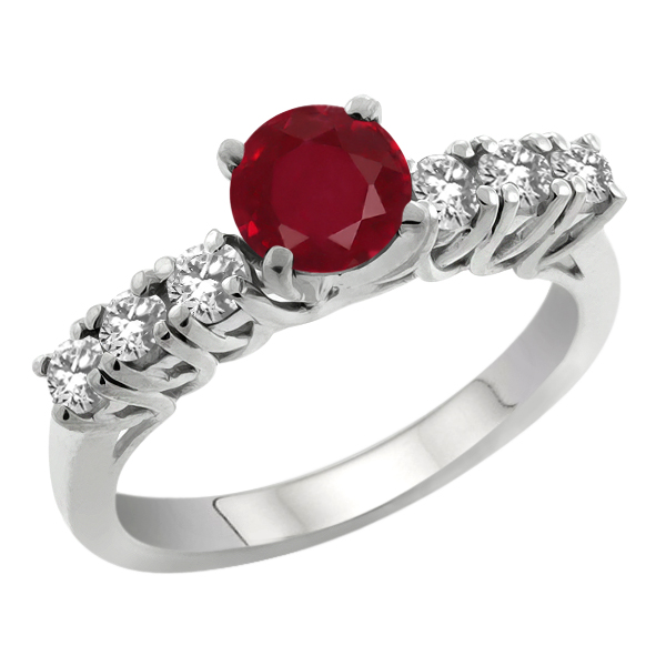 1.53 Ct Round Red Ruby White Topaz 925 Sterling Silver Engagement Ring