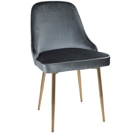 Marcel Contemporary Dining Chair with Gold Frame and Blue Velvet Fabric by LumiSource - Set of 2 ()