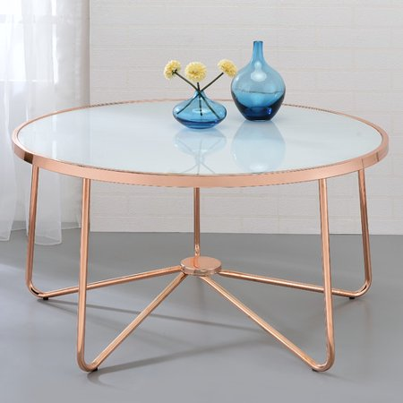 "ACME Alivia Glass Coffee Table, Rose Gold Base, 34""W"