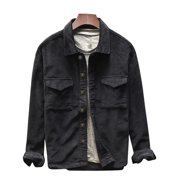 Men's Casual Corduroy Retro Lapel Long Sleeve Button Pockets Coats