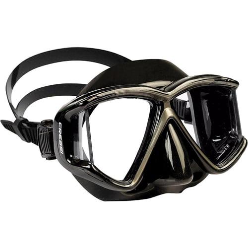 Cressi Panoramic 4 Window Dive Mask (Silver   Black) by Cressi Sub