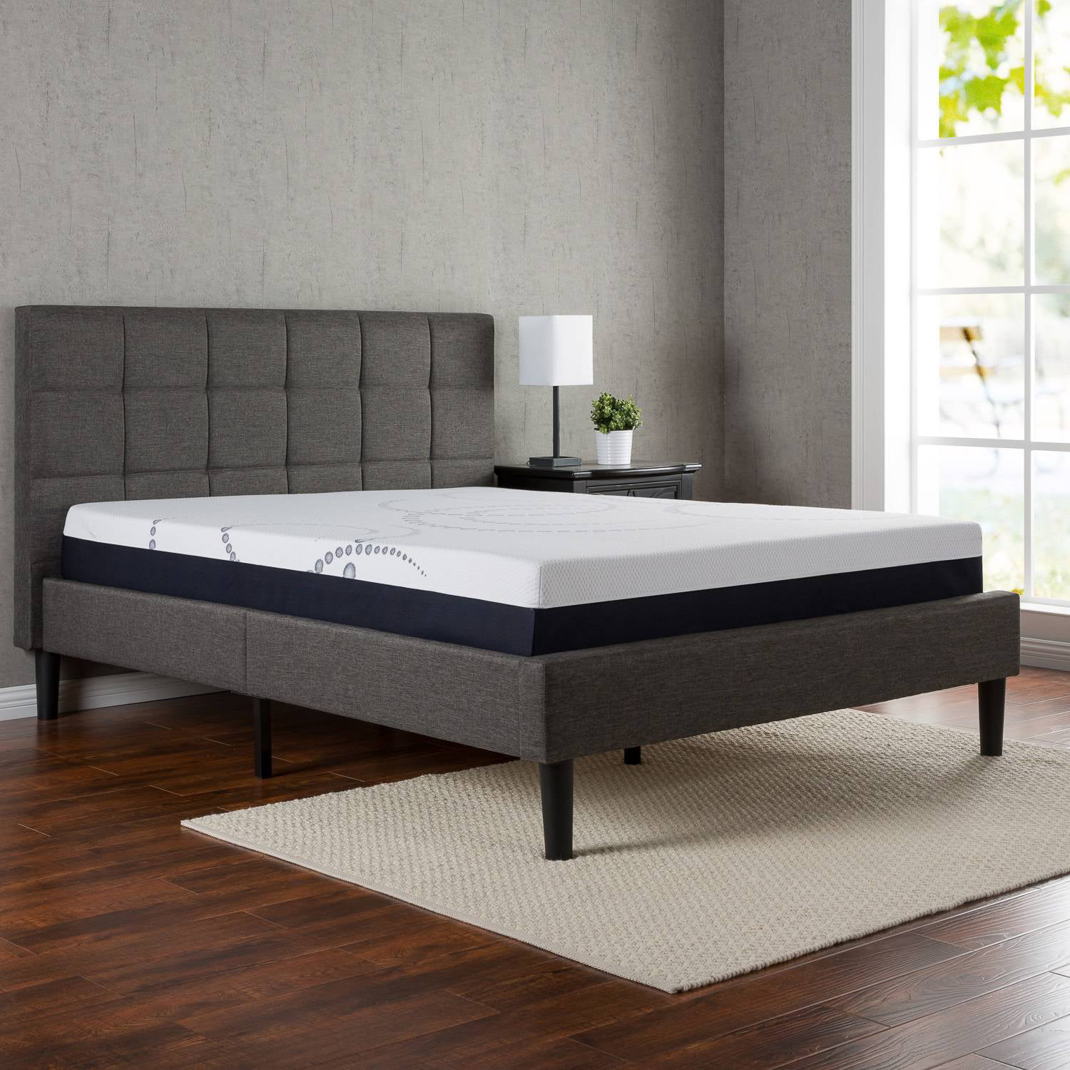 zinus upholstered square stitched platform bed with headboard and wooden slats walmartcom