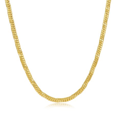 a2b5653ad9369 Small 14k Yellow Gold Plated 2mm Diamond-Cut Rounded Snake Link Chain +  Microfiber Jewelry Polishing Cloth