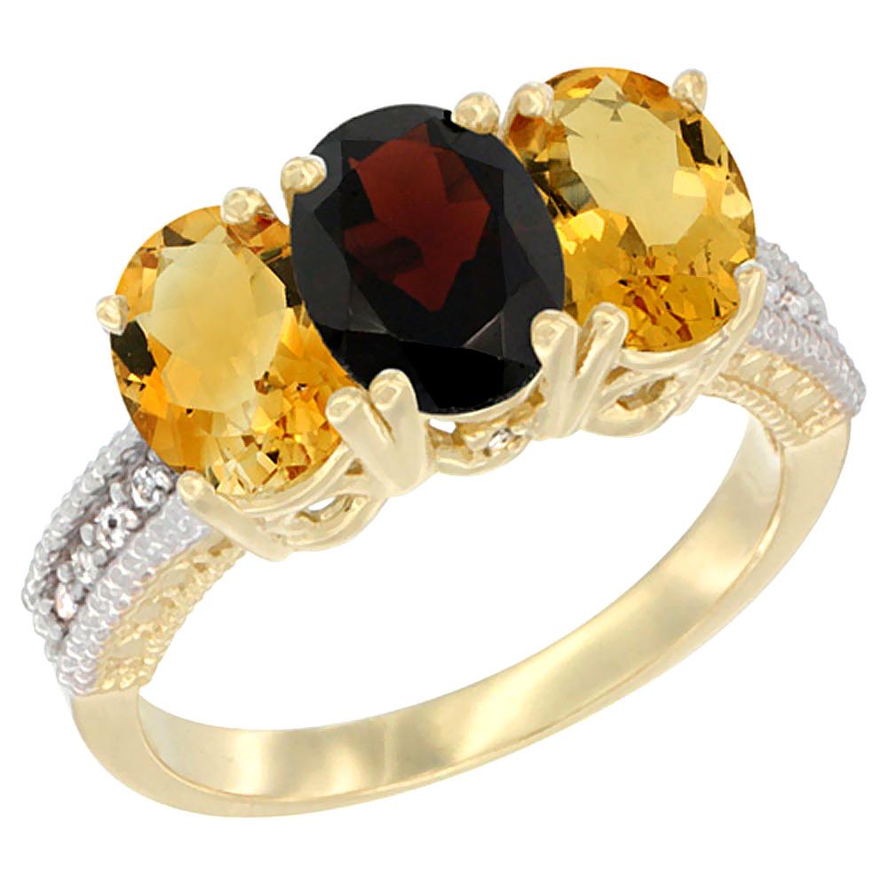 10K Yellow Gold Diamond Natural Garnet & Citrine Ring 3-Stone 7x5 mm Oval, sizes 5 10 by WorldJewels