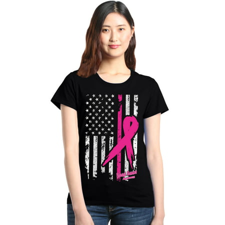 Shop4Ever Women's Pink Breast Cancer Ribbon American Flag Graphic T-Shirt](Purple Cancer)