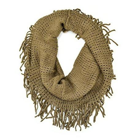 Crochet Fishnet Infinity Loop Scarf with Fringe (Beige)