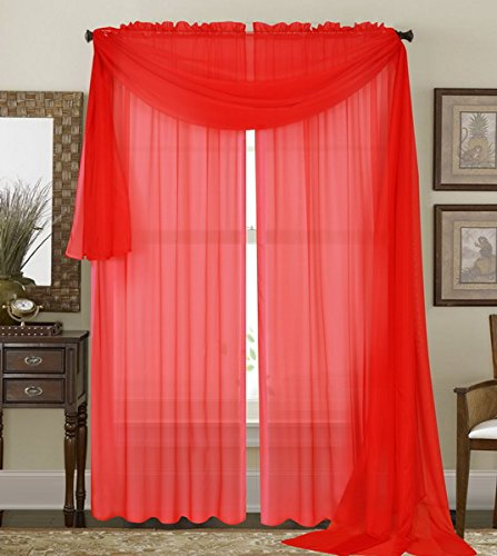 "Qutain Linen Solid Viole Sheer Curtain Window Panel Drapes 55"" x 95 inch - Red"