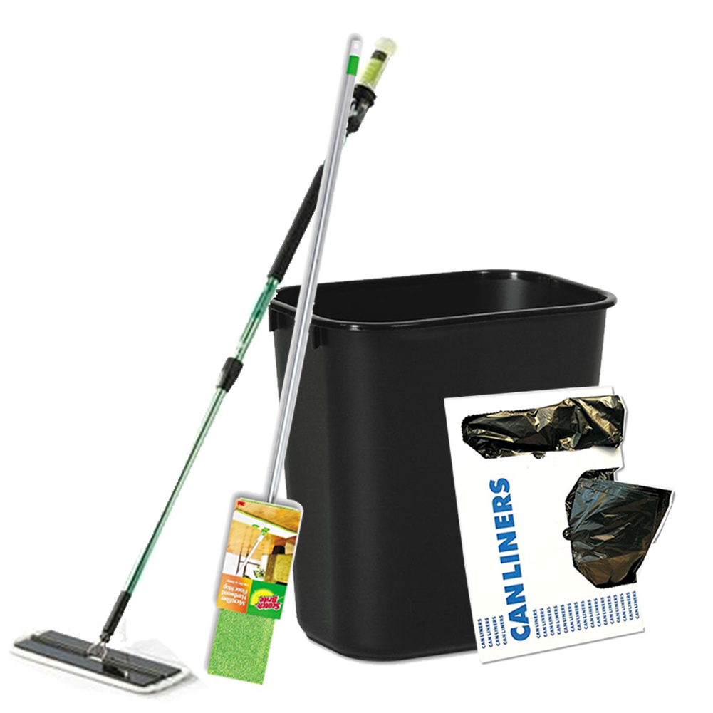 "Low-Density Can Liners + Soft-Sided Wastebasket, 14qt, Plastic, Black + 16"" Easy Scrub Express Flat Mop Tool with Pad Holder + Scotch-Brite Hardwood Floor Mop"