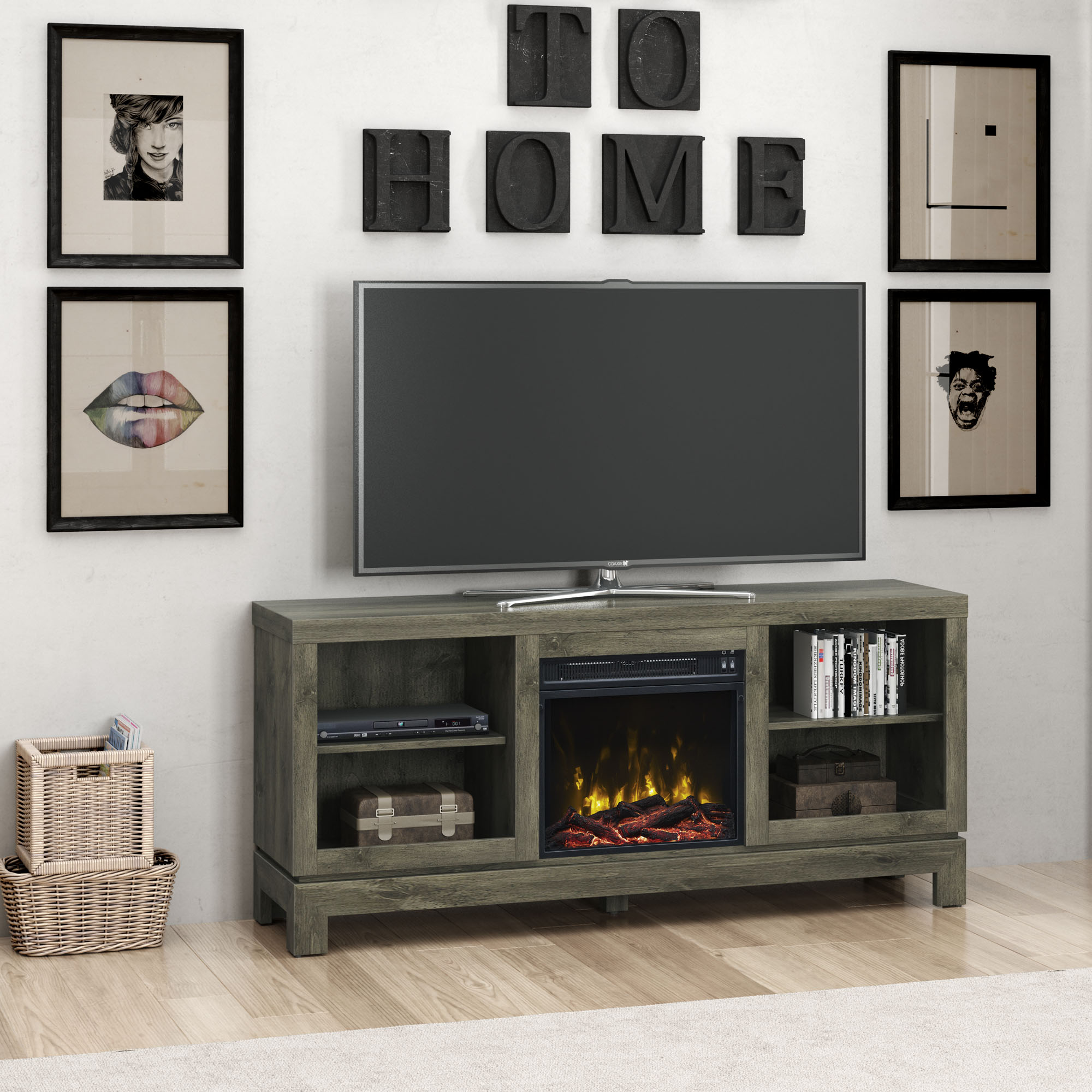 """Palmer Square Spanish Gray TV Stand for TVs up to 65"""" with Electric Fireplace"""