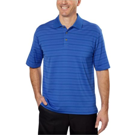 Pebble Beach Performance Mens Pima Cotton Blend Polo Golf Shirt Royal Blue Stripe Medium