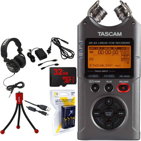 Tascam Portable Digital Recorder (DR-40) w/Bundle + 32GB Micro SD Card + AA  Charger (100-240v) w/ 4 2950mah AA Batteries + Flexible Mini Table-top