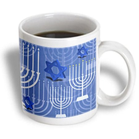 3dRose Passover With Blue Menorahs and Stars, Ceramic Mug, 15-ounce