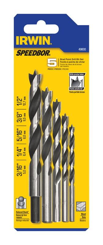 Irwin Tools 49600 5-Piece Brad Point Set