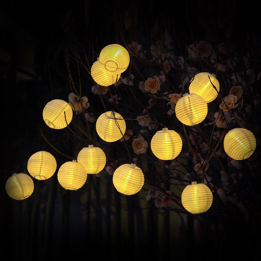 Lantern String Lights 30 LED Fairy Decorative Solar String Lights Lanscape Outdoor Globe String : globe string lights outdoor - www.canuckmediamonitor.org