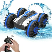 ALLCACA 2.4G RC Car Boat Land Water RC Stunt Car Double Sided Remote Control Off-road Vehicle Amphibious RC Racing Car with 360° Rotation, Blue