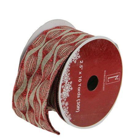 Faded Rustic Red and White Ikat Wired Christmas Craft Ribbon 2.5