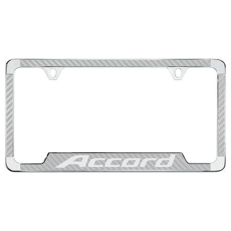 Honda Accord Silver Simulated Carbon Fiber License Plate Frame ...