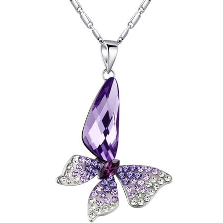 Women's Butterfly Pendant Necklace Made with Swarovski Elements Crystal White Gold Plated Chain Swarovski Crystal Gold Plated Pendant