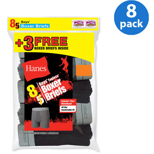 Hanes Boy's Exposed Waistband Boxer Brief 5 Pack + 3 Free--Colors May Vary