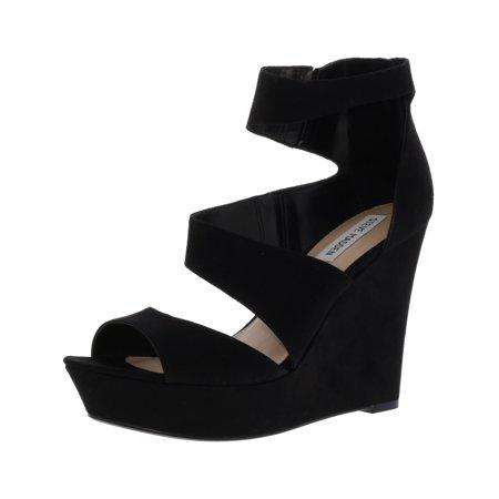 Steve Madden Women's Essex Suede Black Ankle-High Wedged Sandal -