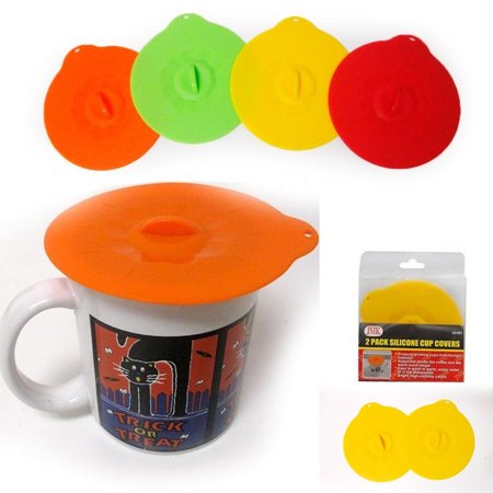 - 2 Pc Silicone Leakproof Cup Cover Coffee Tea Sealing Mug Wrapping Lid Tool Gift