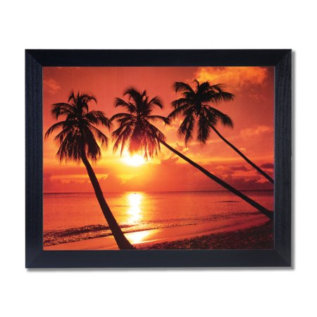 Hawaiian Ocean Palm Tree Beach Landscape Wall Picture Black Framed Art Print