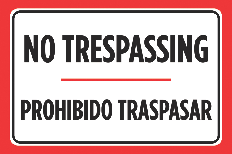 image relating to Printable No Trespassing Sign titled No Tresping Prohibido Traspasar Black Crimson White Spanish Print Parking Good deal Poster Small business Office environment Street Highway Indication -