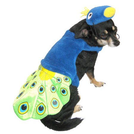 Peacock Dog Costume Colorful Bird Pet Outfit with Hat (Peacock Outfit)