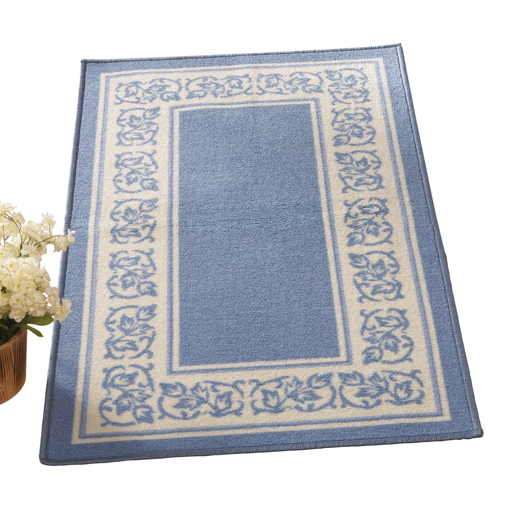 "Floral Border Skid-Resistant Accent Rug, 26"" X 45\ by Collections Etc"