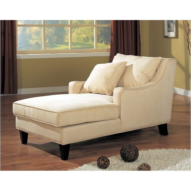 Bowery Hill Chaise Lounger in Cream Microfiber by