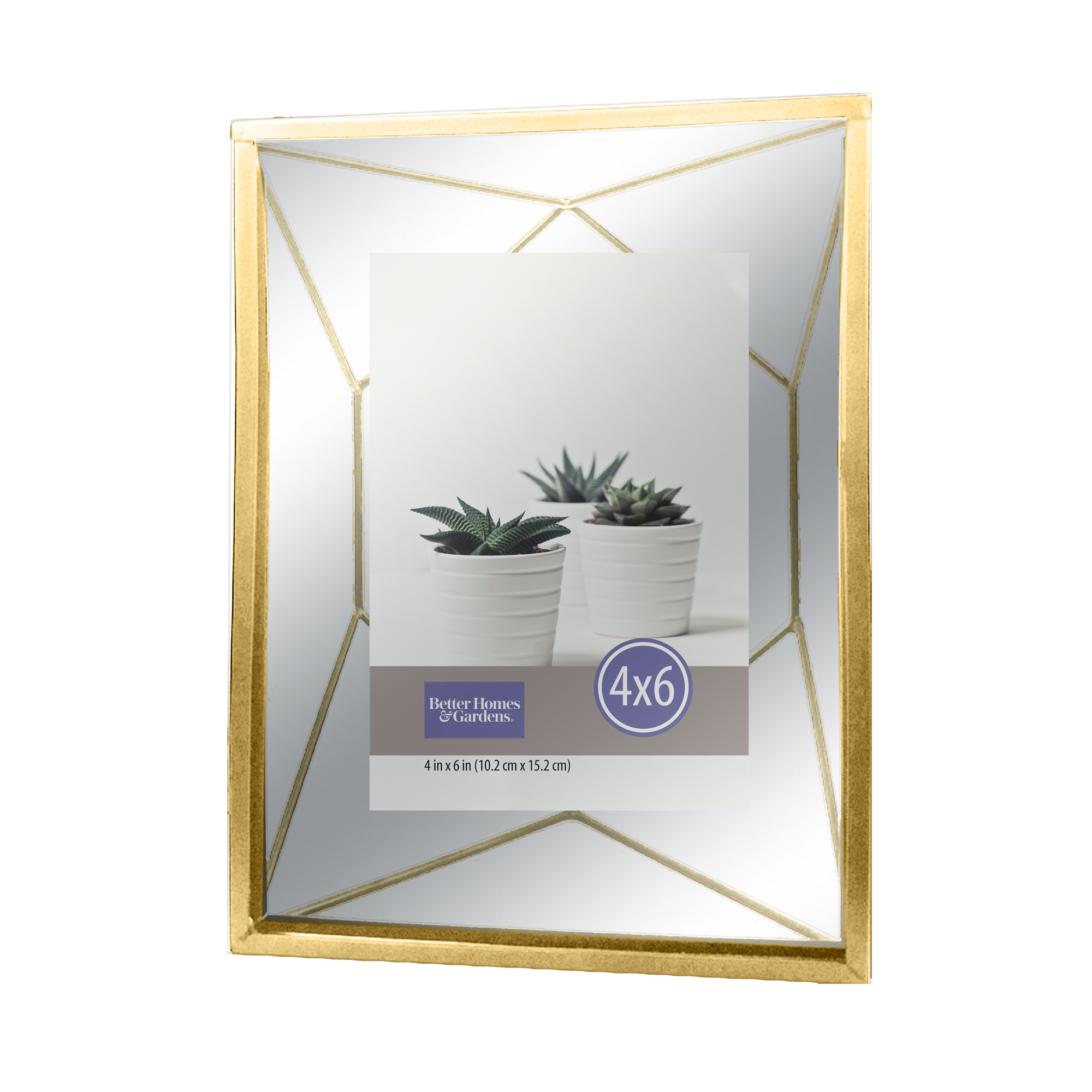 "Better Homes & Gardens 4""x6"" Geometric Metal Gold Picture Frame"