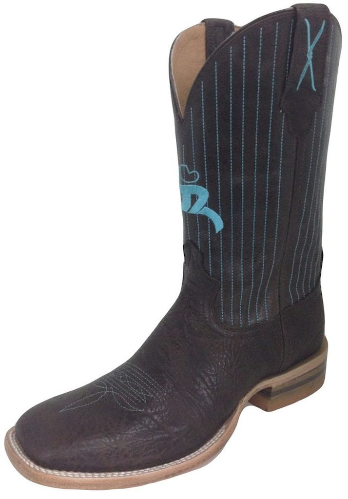 HOOey Western Boots Mens Cowboy Square Toe 9 EE Chocolate MHY0003