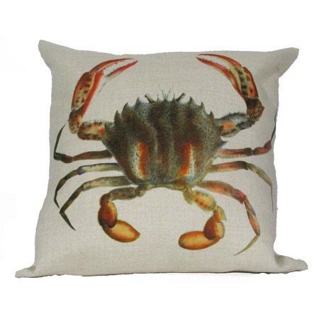 """18"""" Antique Sea Inspired Crab Decorative Accent Throw Pillow Cover with Insert"""