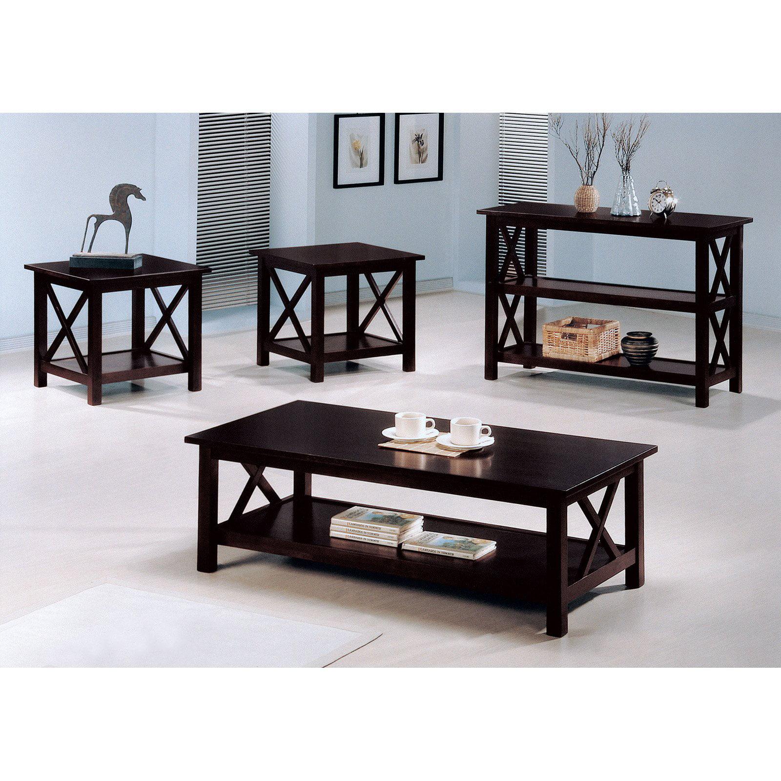 Coaster Furniture 3 Piece Coffee Table Set Dark Merlot Walmart