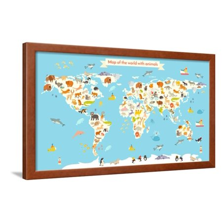 Cartoon Map - Animals World Map. Colorful Cartoon Vector Illustration for Children and Kids. Framed Print Wall Art By coffeee_in