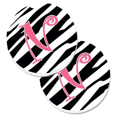 Monogram Initial N Zebra Stripe & Pink Set of 2 Cup Holder Car Coaster - image 1 de 1