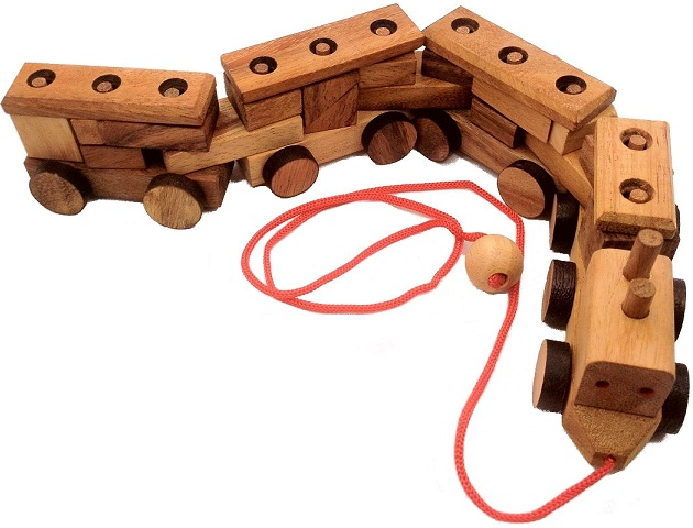 Construction Train 3D Brain Teaser Wooden Puzzle by Winshare Puzzles and Games