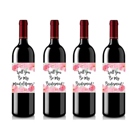 Set of 4 Wine Bottle Labels - Will You Be My Bridesmaid - Will You Be My Maid of Honor - Wine Labels Bridesmaid Gifts - Maid of Honor