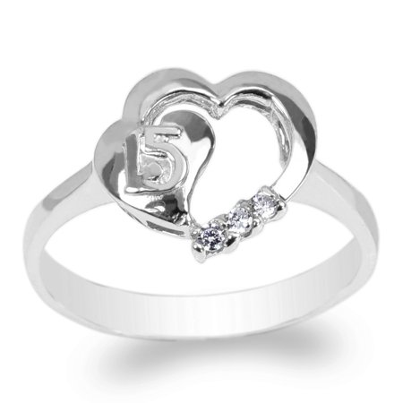 Ladies 10K White Gold Solid Heart Shapend 15 Anos Quinceanera Ring Size 4-10 10k Solid Gold Ladys Ring