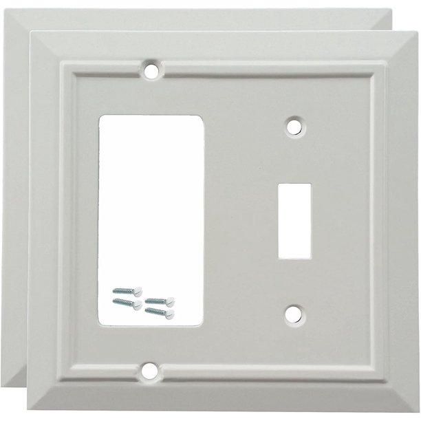 Pack Of 2 Wall Plate Outlet Switch Covers By Sleeklighting Classic Architecture Wall Plates Variety Of Styles Rocker Receptacle Toggle Combo Size 2 Gang Combo Toggle And Rocker Walmart Com Walmart Com